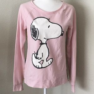 Tops - Womans Peanuts Snoopy Walking Front Cartoon Strip